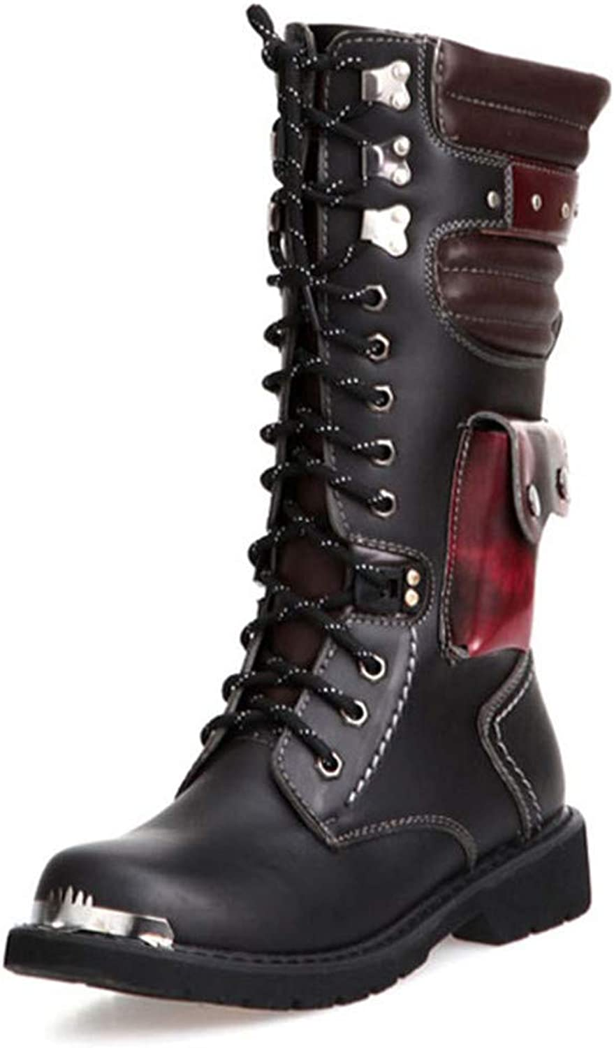 Men Buckle Lace Up Combat Boots Mens shoes British Metal Military Motorcycle Boots
