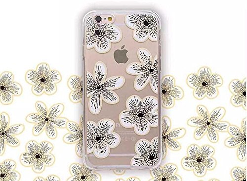 iPhone 6/6S Case,Blingy's Floral Pattern Transparent Clear Flexible Soft Slim Rubber TPU Case-Retail Packaging (Black and White)