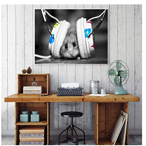 Jwqing Wandkunst - Tiermalerei Lustiger Kleiner Hamster, der Musik hört Bilder - Leinwandkunst Einzigartiges Geschenkplakat und Druck Home Decor (60x90cm ungerahmt