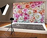 YongFoto 2,2x1,5m Vinyle Toile de Fond Atio Fleurs en Papier Floraison Rose Floral Fond Décors Studio Photo Portrait Enfant Video Fete Mariage Photobooth Photographie Accesorios