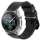 Estuyoya - Pulsera de Piel Hecha a Mano compatible con Samsung Galaxy Watch 3 45mm / Huawei Watch GT 2 / Xiaomi Amazfit Stratos 3, Diseño Único y Exclusivo Cuero Auténtico 22mm - GreySpace