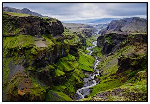 Panorama Metacrilato Enmarcado Islandia Círculo Dorado 100 x 70 cm - Impreso en Metacrilato de 3mm Marco - Cuadros para Salón - Cuadro con Marco - Láminas Decorativas
