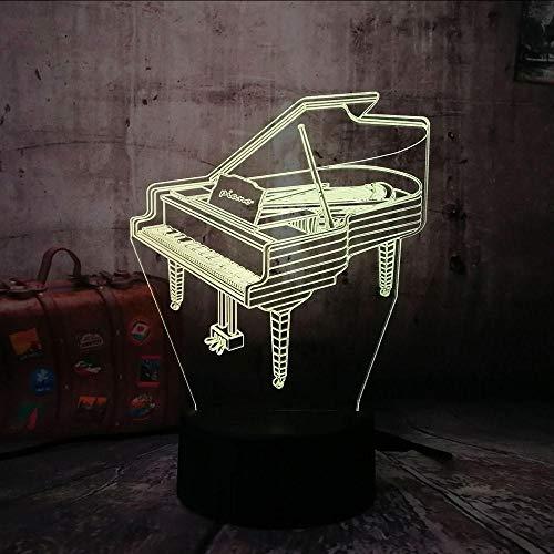 Iluminación Nocturna Romantic 3D Led Piano Night Light 7 Cambio De Color Linterna Inalámbrica Dormitorio De Los Niños Decoración Del Hogar Para Juguetes De Navidad Para Niños