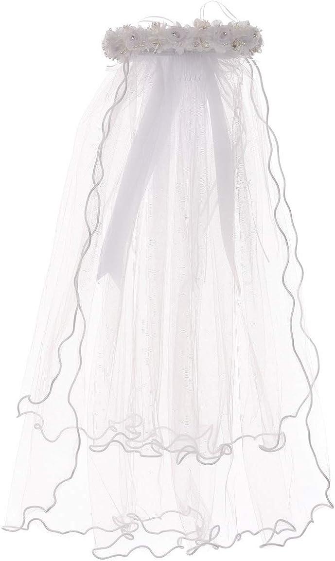 Pearl Rhinestones Accented Flower Crown Tiara Mesh Communion Veil Flower Girl
