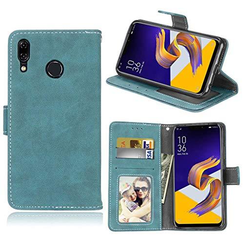 Asus Zenfone 5 2018 Hülle, SATURCASE Mattiert PU Lederhülle Ledertasche Magnetverschluss Brieftasche Standfunktion Tasche Schutzhülle Handy Hülle für Asus Zenfone 5 ZE620KL/Zenfone 5z ZS620KL (Blau)