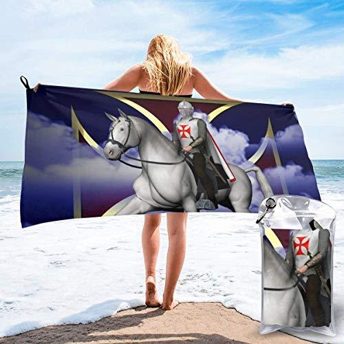 NBHJU Riddare templar mikrofiber snabbtorkande handdukar för simning, strandhanddukar för resor, sandskydd, superabsorberande, små och lätta handdukar.