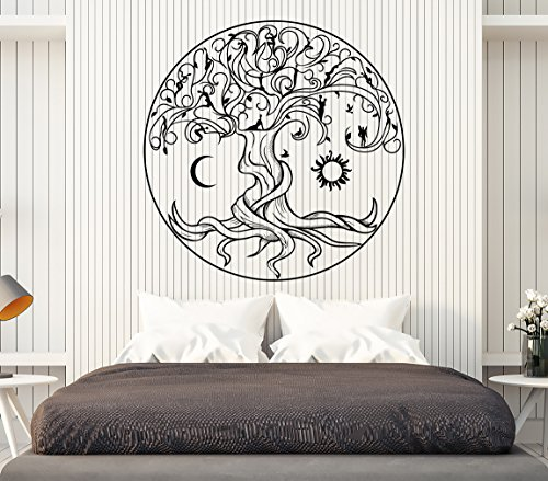 Vinyl Wall Decal Celtic Tree of Life Symbol Nature Fairies Sun Moon Stickers Large Decor (1359ig) Black 22.5 in X 22.5 in