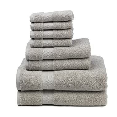Premium 100% Cotton 8-Piece Towel Set (2 Bath Towels 30  X 52 , 2 Hand Towels 16  X 28  and 4 Washcloths 12  X 12 ) - Natural, Soft and Ultra Absorbent (Dove)
