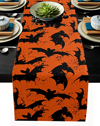 Dining Table Runner 14 by 72 inch Happy Halloween Orange and Black Bat Pattern Farmhouse Kitchen Table Runners for Banquets Baby Shower Events Table Decor