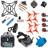 QWinOut T100 DIY FPV Racing Drone Toothpick Kit with Flysky Receiver Crazybee F4 PRO V3.0 FC Full Set with FPV Goggles (DIY Version,Blue)