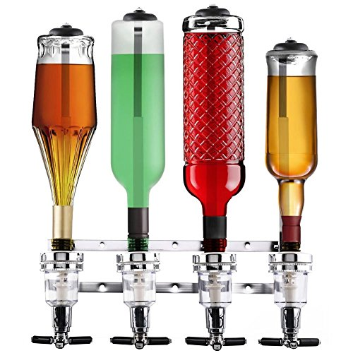 BAKAJI Spillatore A Parete 4 Bottiglie Dispenser Erogatore Dosatore Liquori Distributore Bevande Liquori Bar Butler, Portabottiglie A Parete 4 Posti