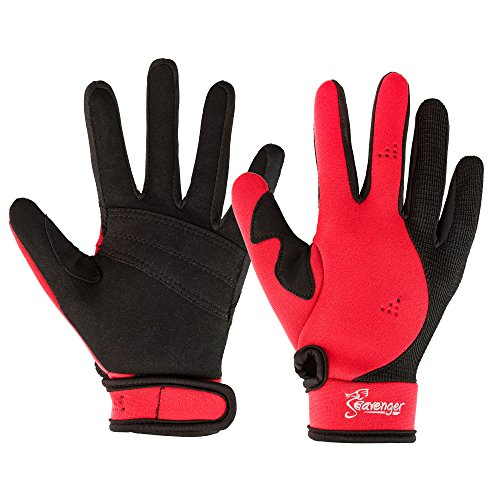 Seavenger Abyss Dive Gloves | 1.5mm Neoprene Mesh | Scuba Diving, Wakeboarding, Spearfishing (Red, Small)