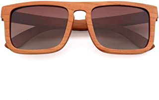 LUKEEXIN Wood Fashion Polarized Sunglasses for Outdoor Driving, UV400, Unisex (Color : Brown)