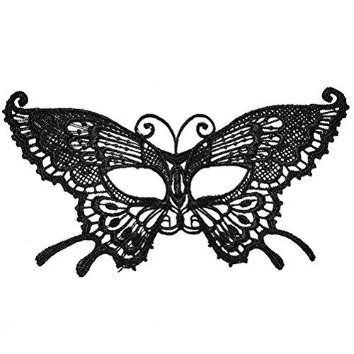 Tinksky Lace Masquerade Maske Schmetterling Eyemask Augenmaske Schwarz Halloween Lace Maske Dance Club Augenmuschel