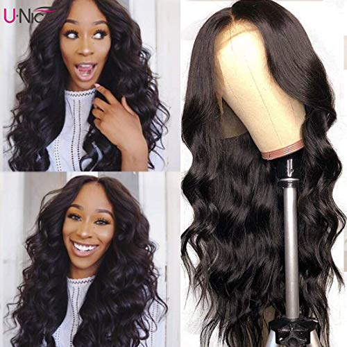 UNice Hair 13x6 Body Wave Lace Front Human Hair Wigs Free Part, Unprocessed Brazilian Virgin Hair Wig Pre Plucked with Baby Hair 150% Density­ (16'')