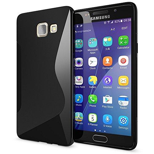 NALIA Custodia compatibile con Samsung Galaxy A3 2016, Cover Protezione Ultra-Slim Case Resistente Protettiva Cellulare in Silicone Gel, Gomma Morbido Bumper Copertura Sottile - S-Line Nero