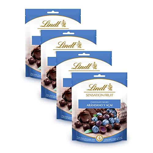 Lindt Sensation Fruit Chocolate Negro con Arándanos y Açaí - 150 g, pack de 4