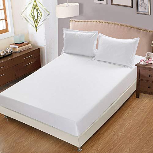 CYYyang Protector de colchón Transpirable.Rizo Bambú. Sábana de Cama de Color Puro una Pieza Antideslizante-Blanco_135x200cm