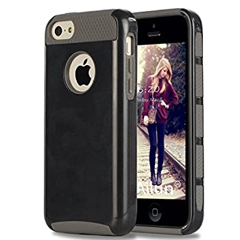 Ailun Phone Case Compatible with iPhone 5C Soft TPU Bumper Hard Shell Solid PC Back Shock Absorption Anti Scratch Hybrid Dual Layer Slim Cover Siania Retail Package Black