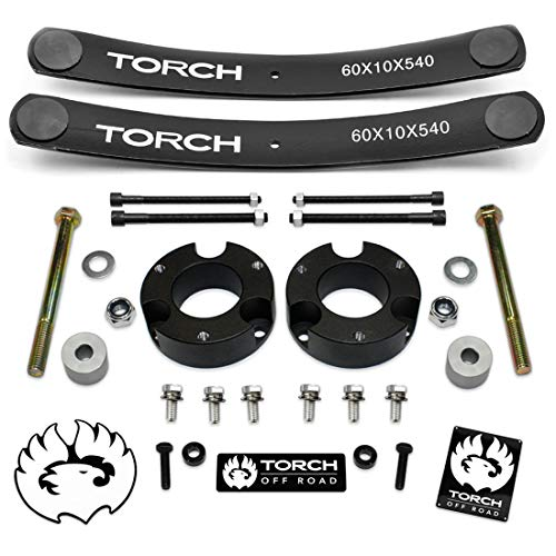 TORCH 3' Lift Kit for 2005-2021 Toyota Tacoma 4X4 4WD w Diff Drop Add A Leaf (1.5'-2' rear lift) TRD SR5 - Models with 6 Lug Wheel Bolt Pattern ONLY