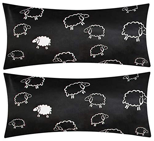 Heubergshop Baumwoll Renforcé Kissenbezug - 2er Set in 40x80cm - Süße Schafe Lämmer in Schwarz - Kopfkissen-Bezug, Kissenhülle, Dekokissenbezug aus 100% Baumwolle (K-091-1)