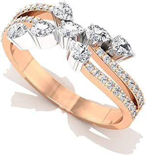 Engagement Anniversary Stack Ring 0.34Ct IGI Certified Diamond Gold Ring IJ-SI Color Clarity Diamond Wedding Ring Round Pear Shape Three Stone Ring