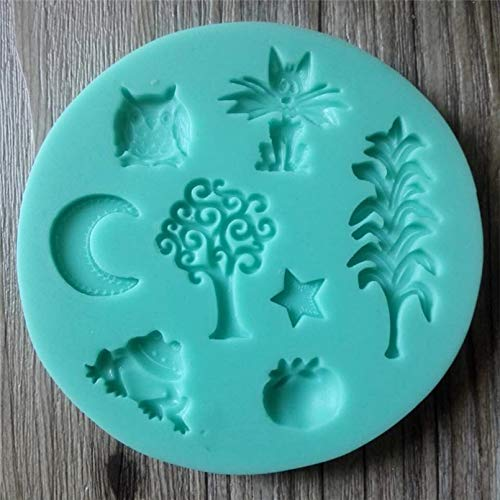 GEYKY Corn Cat Moon Frog Tree Pumpkin Mold,Resin Clay Chocolate Candy Silicone Cake Mould,Cake Decorating Tools