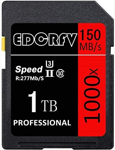 High Compatible SDXC Speicherkarte 1024GB 1TB 1000X UHS-I/U3 Memory SD Card Speed up to Max R277MB/s, W150MB/s, for HD photography and HD video (1TB)