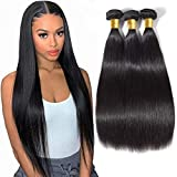 Straight Human Hair Virgin Hair - Bundles 100% Unprocessed Brazilian Straight Virgin Human Hair 3 Bundles Human Hair Extensions Natural Black Color(20 22 24)