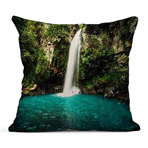 Kinhevao Cojín Cascada majestuosa en la Selva Tropical de la Selva de Costa Rica Parque Nacional La Cangreja Rincón de Vieja Cojín de Lino Almohada Decorativa para el hogar