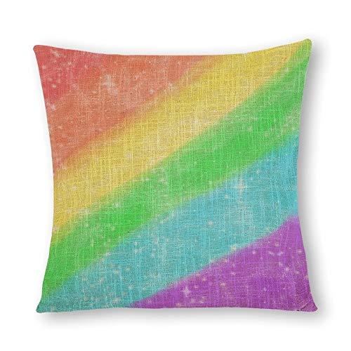 Bonita funda de almohada de cáñamo de imitación con purpurina, impresión de doble cara, 1 paquete de 50 x 50 cm