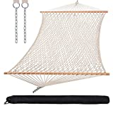 SUNCREAT Hammocks Cotton Rope Double Hammock with Hardwood Spreader Bar and Carrying Bag, 450 lbs Capacity, Natural