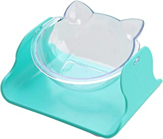 Songway 15 Degree Adjustable Cat Bowl, Tilted Raised Cat Dish Bowl, Cute Cat-Ear-Shaped Food Water Bowl, Transparent Cat F...