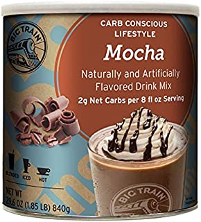 Big Train Carb Conscious Blended Ice Coffee, Mocha, 1.85 Pound, Low Carb Powdered Instant Coffee Drink Mix, Serve Hot or Cold, Makes Blended Frappe Drinks