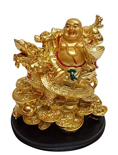 Indian Handicrafts Lucky Feng Shui Golden Laughing Buddha on Dragon Coins Money Statue Figurine for Wealth and Good Luck