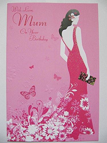 STUNNING GLITTER Gekleurde PINK PARTY JURK MET LIEFDE MUM BIRTHDAY GREETING CARD