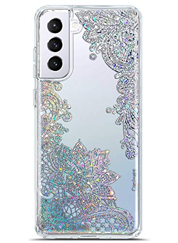 Coolwee Clear Glitter for Galaxy S21 Plus Case Thin Flower Slim Cute Crystal Lace Bling Women Girls Floral Plastic Hard Back Soft TPU Bumper Protective Cover for Samsung Galaxy S21 Plus Mandala Henna