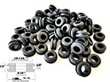 "Lot of 25 Rubber Grommets 1/2"" Inch Inside Diameter - Fits 3/4"" Panel Holes"
