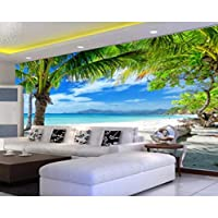 mzznz カスタム壁紙ナチュラル風景ビーチココナッツツリーテレビ背景壁リビングルームの寝室3D壁紙-280X200Cm
