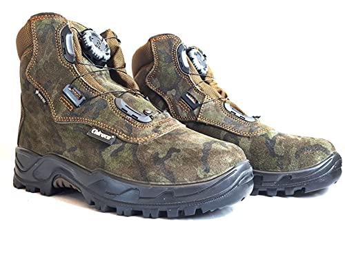 Scarpe da Caccia Uomo Impermeabili Scarponi da Trekking Chiruca in Goretex mimetici Tecnica Impermeabile Scarponcino Montagna Lacci Boa System (Numeric_43)