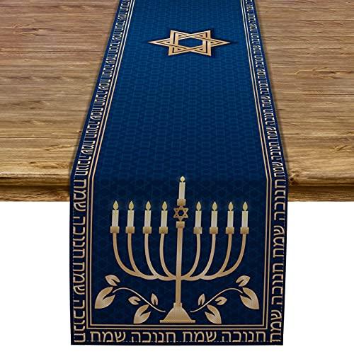 Pudodo Hanukkah Table Runner Chanukah Menorah Star of David Jewish Festival Holiday Party Kitchen Dining Home Decoration