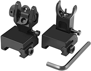 Feyachi Flip Up Iron Sight Front Rear Sight Compatible for Picatinny Rail and Weaver Rail of Rifle, Foldable Sights