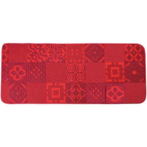 IlGruppone Il GRUPPONE PROPONE Tappeto da Cucina Antiscivolo, passatoia Multiuso Disegno Maiolica Lavabile in Lavatrice - Rosso - 57x250 cm