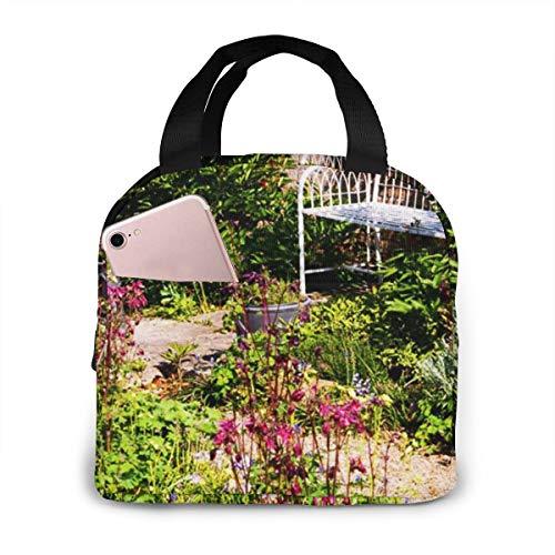 Bolsa Térmica Comida Bolsas De Almuerzo Caja Porta Con Aislamiento Organizador Del Almuerzo para Mujeres Hombres Niñas Niños Ladrillo de banco de jardín aislado inglés