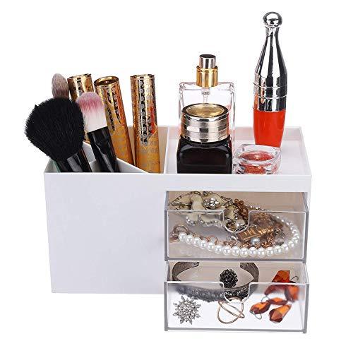 AOWU Caja de almacenamiento de joyería Caja de almacenamiento de cosméticos de escritorio con cajón de gran capacidad de maquillaje cepillo titular de cajón para aparador dormitorio
