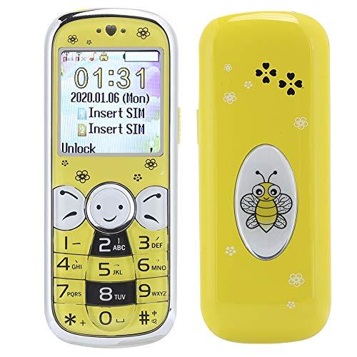 Goshyda Teléfono móvil para niños, 1009 Mini botón de Cristal, Tarjetas Dobles, 32 MB + 32 MB, teléfono con cámara de 8 W, para niños y Estudiantes(Amarillo)