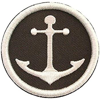 Iron On Embroidered Applique Patch NAUTICAL Anchor Blue//White Life Preserver 038
