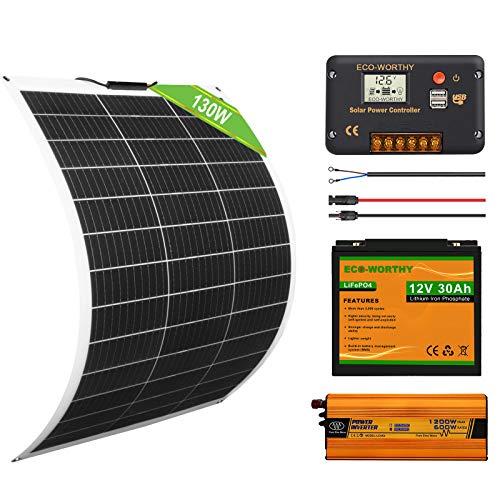 ECO-WORTHY Kit Solaire Complet 130W 12V: Panneau Solaire Flexible 130W + Batterie Lithium 30Ah + 600W Onduleur Solaire, Système Hors Réseau pour RV/Camping Car/Bateau