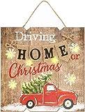 com-four® Weihnachtsbild auf Holz-Schild mit LED-Beleuchtung für Weihnachten, weihnachtliches Licht-Schild mit 6 LEDs, batteriebetrieben zum Aufhängen 24 x 24 x 3 cm (Driving Home)