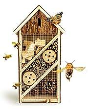 bambuswald© Hotel de Insectos con 3 Pisos y casa de Mariposas|Casa para Abejas de Madera y bambú - 19,5 x 10 x 37 cm|Refugio para Insectos Protección de Especies en tu jardín